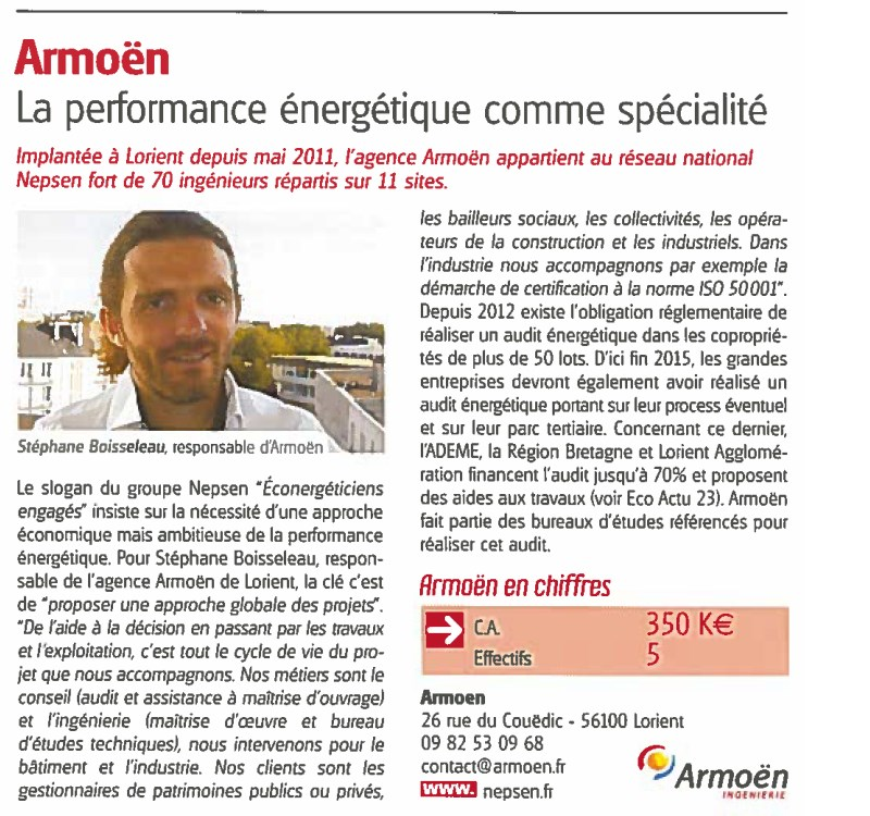 Article sur Armoën dans Eco Actu de janvier