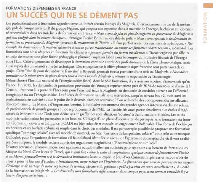 article magreb transenergie cadre