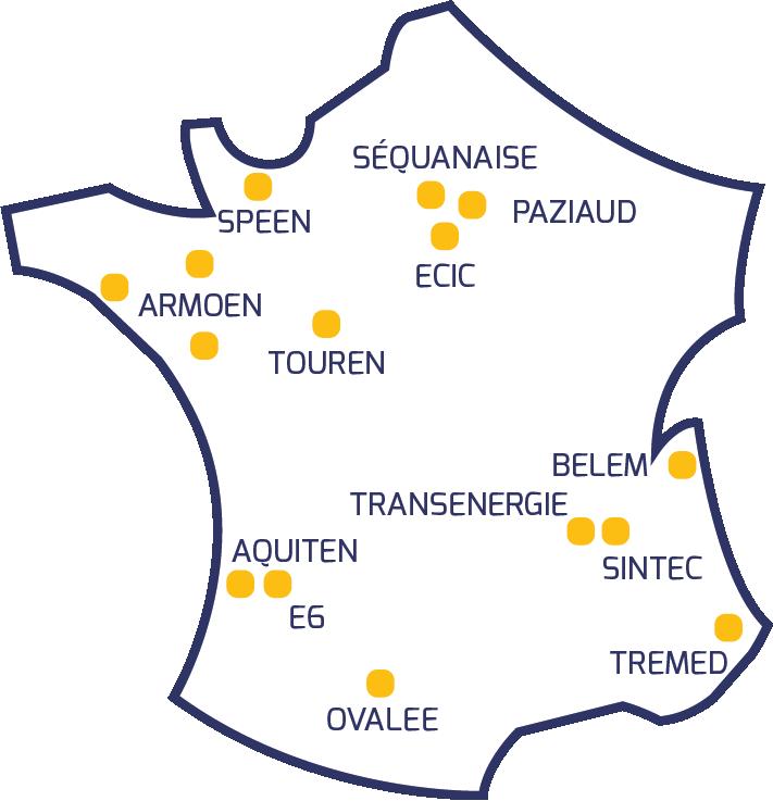 Image de la carte de France avec des points jaunes matérialisant les 15 entités du groupe NEPSEN réparties sur le territoire national
